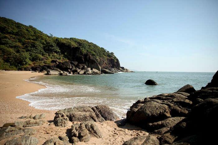 A shot of the hidden Butterfly beach in Goa