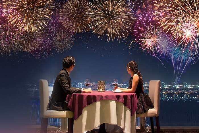 A couple enjoying a dinner at EON51 in Ho Chi Minh city