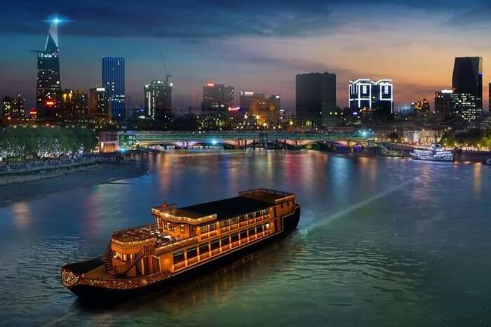 An aerial shot of the Bonsai Dinner Cruise in Ho Chi Minh city