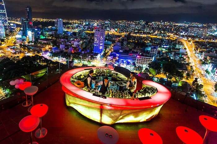 An aerial shot of the Chill Skybar in Ho Chi Minh city