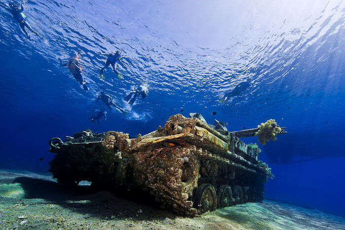 People diving in Aqaba near Tank Wreck