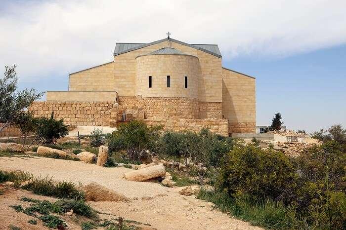 Basilica of Moses (Memorial of Moses) at Mount Nebo in Jordan