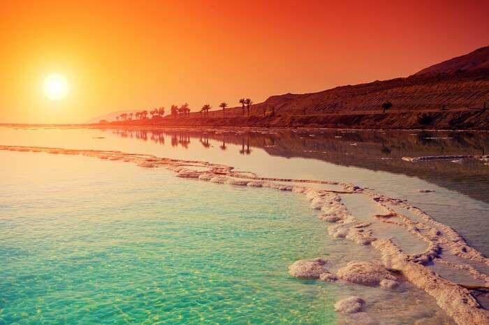 A shot of the sunrise over Dead Sea in Jordan