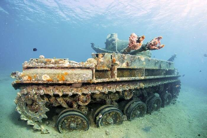 Sunken wreck of a tank in Red Sea near Aqaba in Jordan