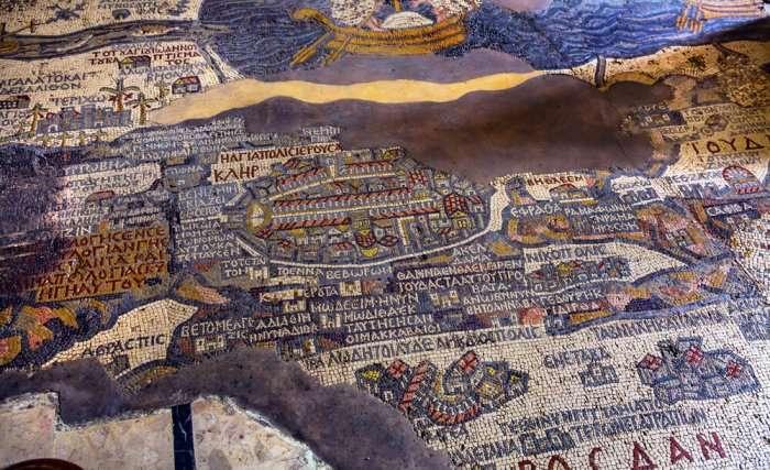 Ancient 6th Century moasaic cum map of at Saint George Greek Orthodox Church at Madaba in Jordan