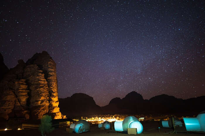 Camping under the starry night sky at Wadi Rum in Jordan
