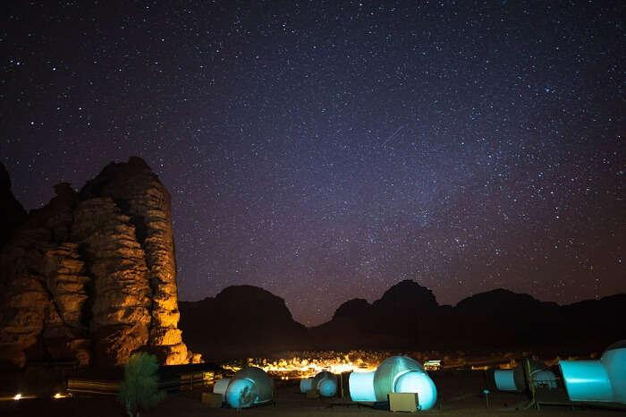 Camping under the starry night sky at Wadi Rum in Jordan