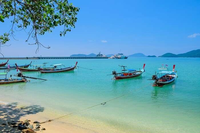 Traditional Thai boats for tourist near the Panwa beach in Phuket