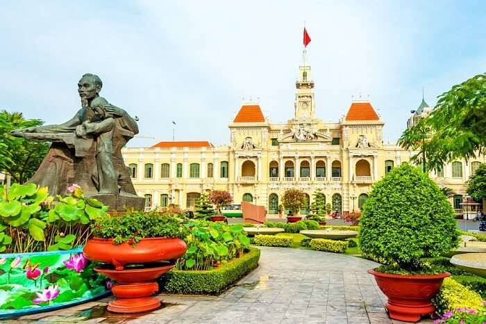 The gardens outside the Ho Chi Minh City Hall in Ho Chi Minh City