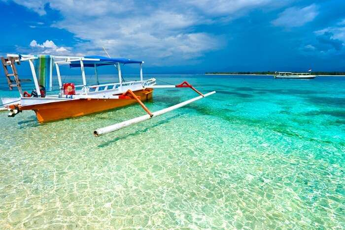 A boat in the beautiful sea of Gili Meno near Bali