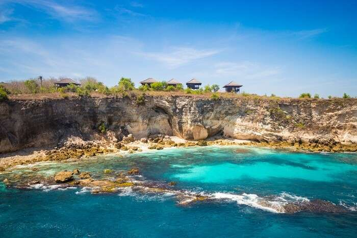 Blue beautiful lagoon at Nusa Ceningan island near Bali