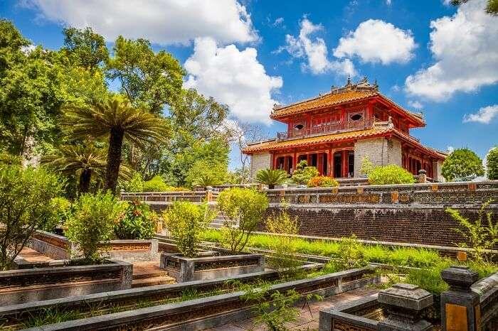 Minh Lau pavilion at Minh Mang Emperor Tomb in Hue