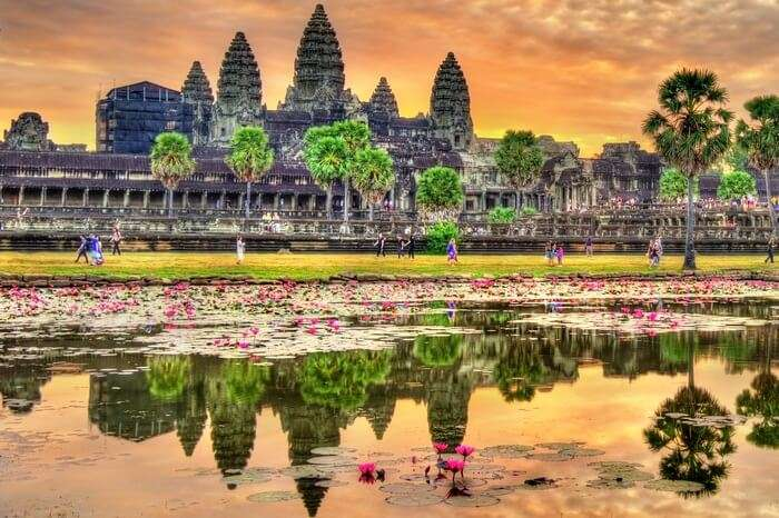 Tourists at the famous Angkor Wat Temple in Cambodia