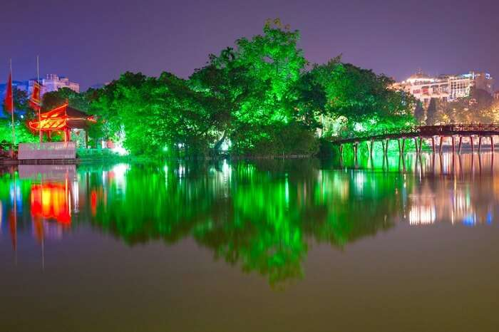 Night shot of Red Bridge in Hoan Kiem Lake in Hanoi