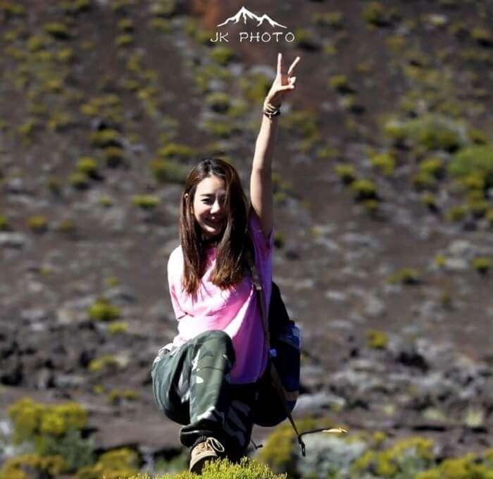 happy traveler in Reunion Island, France