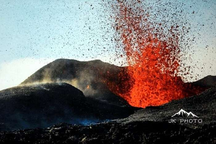 an erupting volcano in Reunion Island, France