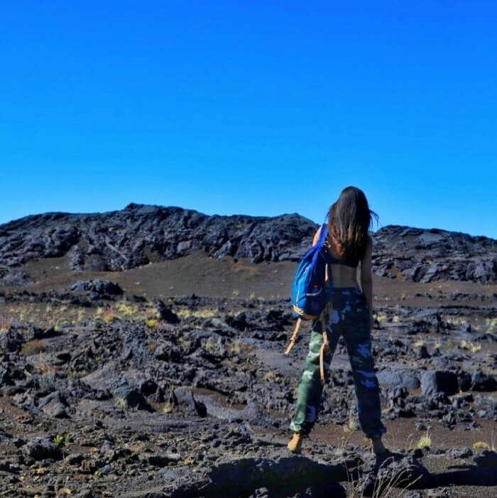 female traveler hiking in Reunion Island, France