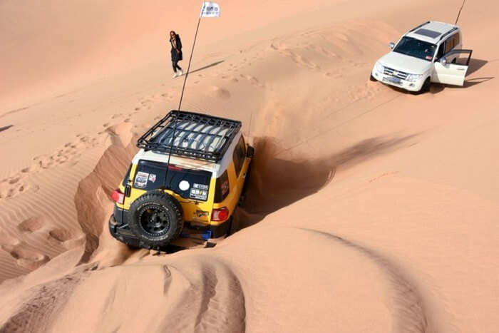 car stuck in desert
