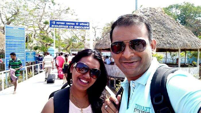 Couple traveling to Havelock Island, Andaman