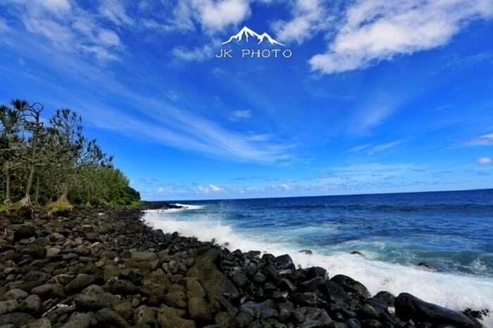 rocky beach in Reunion Island, France