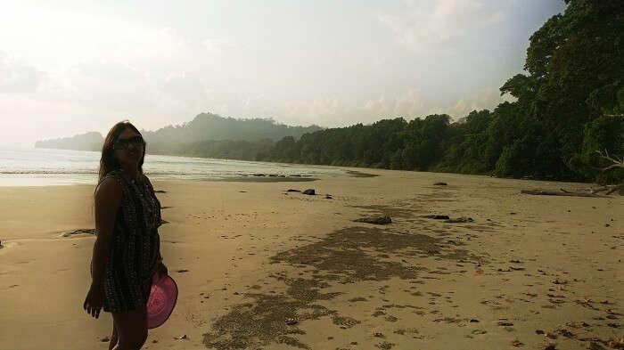 female traveler at Radhanagar Beach
