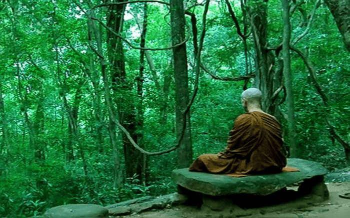 A monk meditating at Nilambe Buddhist Meditation Center in Kandy