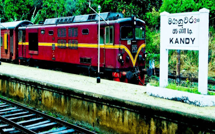 A train approaching Kandy Railway Station in Kandy
