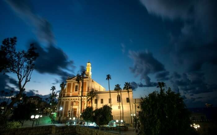 A view of St. Peters Church in Jaffa in Israel at night