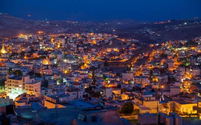 A view of glittering Bethlehem city in Israel