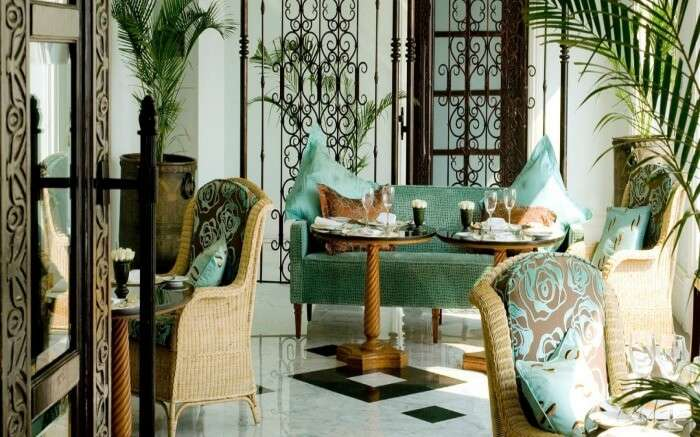 An elegant dining space of Sea Lounge at Taj Mahal Palace in Colaba in Mumabi