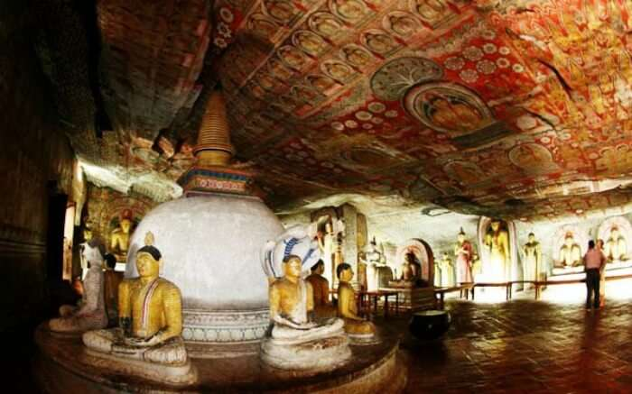 Beautiful interiors of Dambulla Cave Temple in Kandy