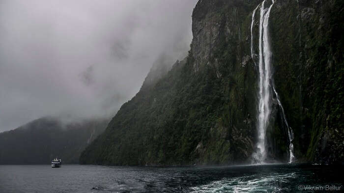 waterfalls during the milford sound tour