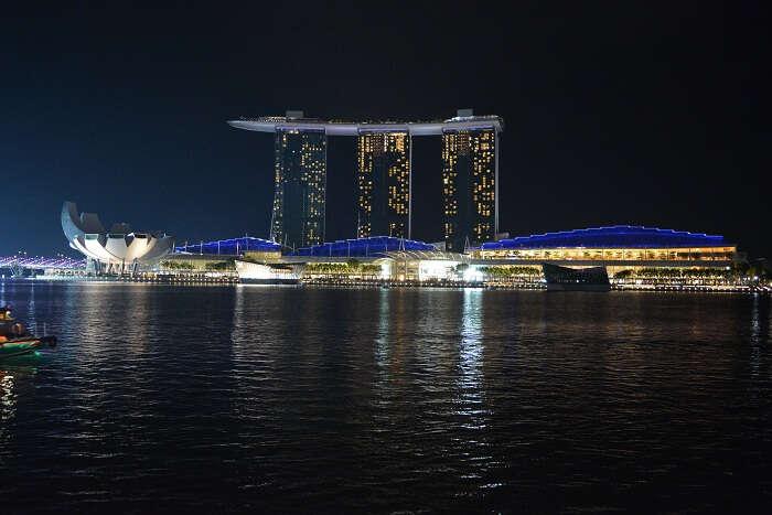 night skyline in singapore
