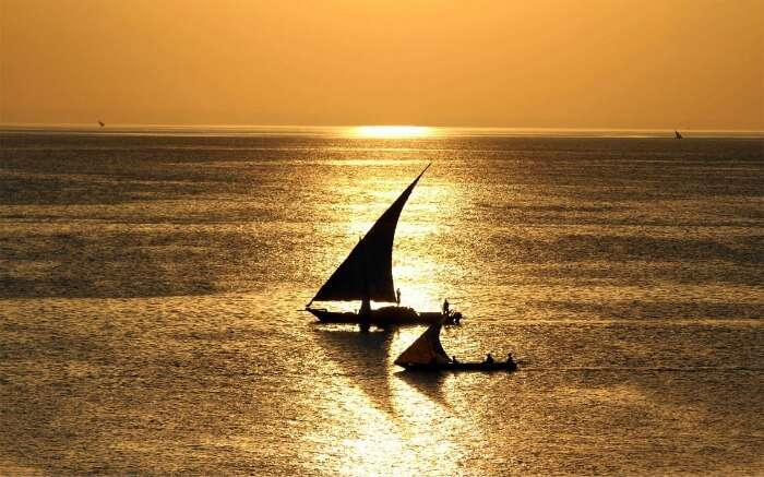Dhow cruises on waters at sunset
