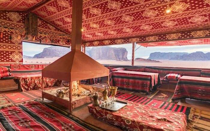 Dining area in Bedouin Lifestyle Camp Wadi Rum