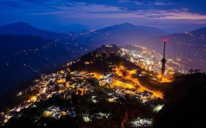 Night view of Gangtok