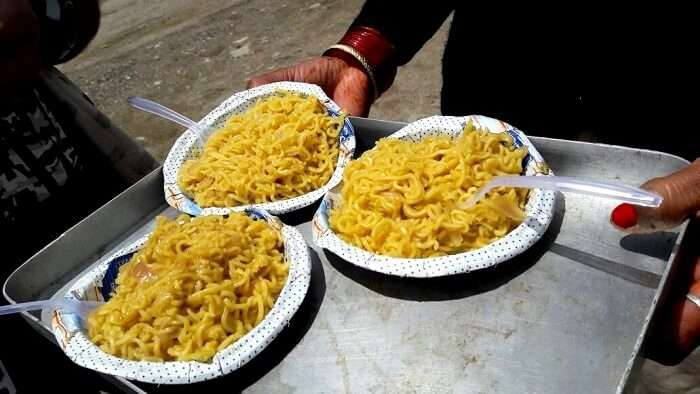 eating delicious maggi in bir billing