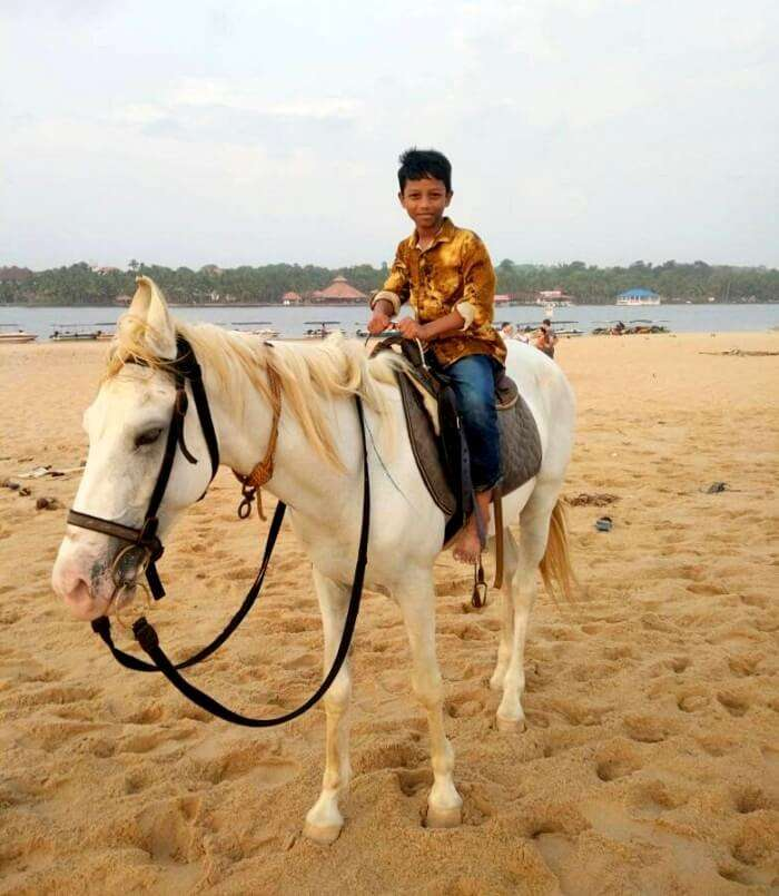 horse ride on the kovalam beach