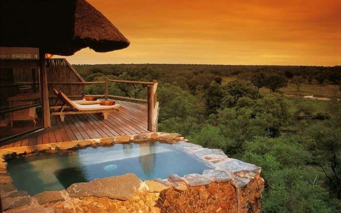Jungle lodge with an open pool in South Africa