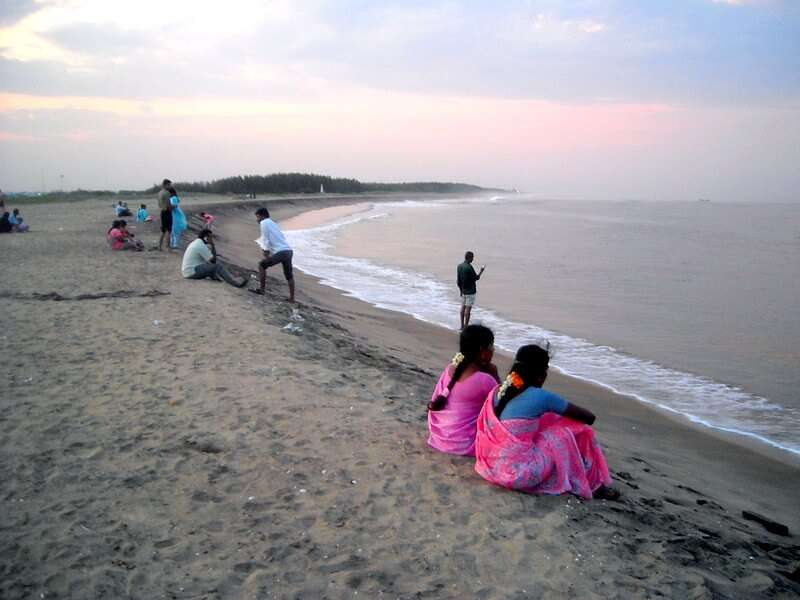 people sitting on Karaikal Beach