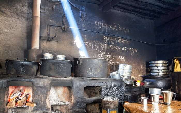 Kitchen inside Key Monastery in Spiti