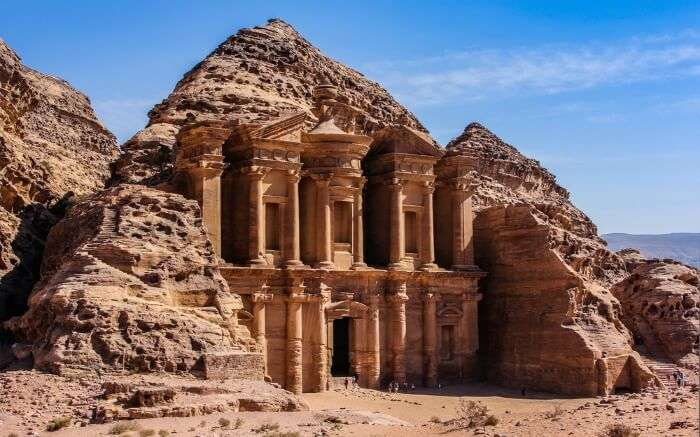 Petra Temple carved on a rock