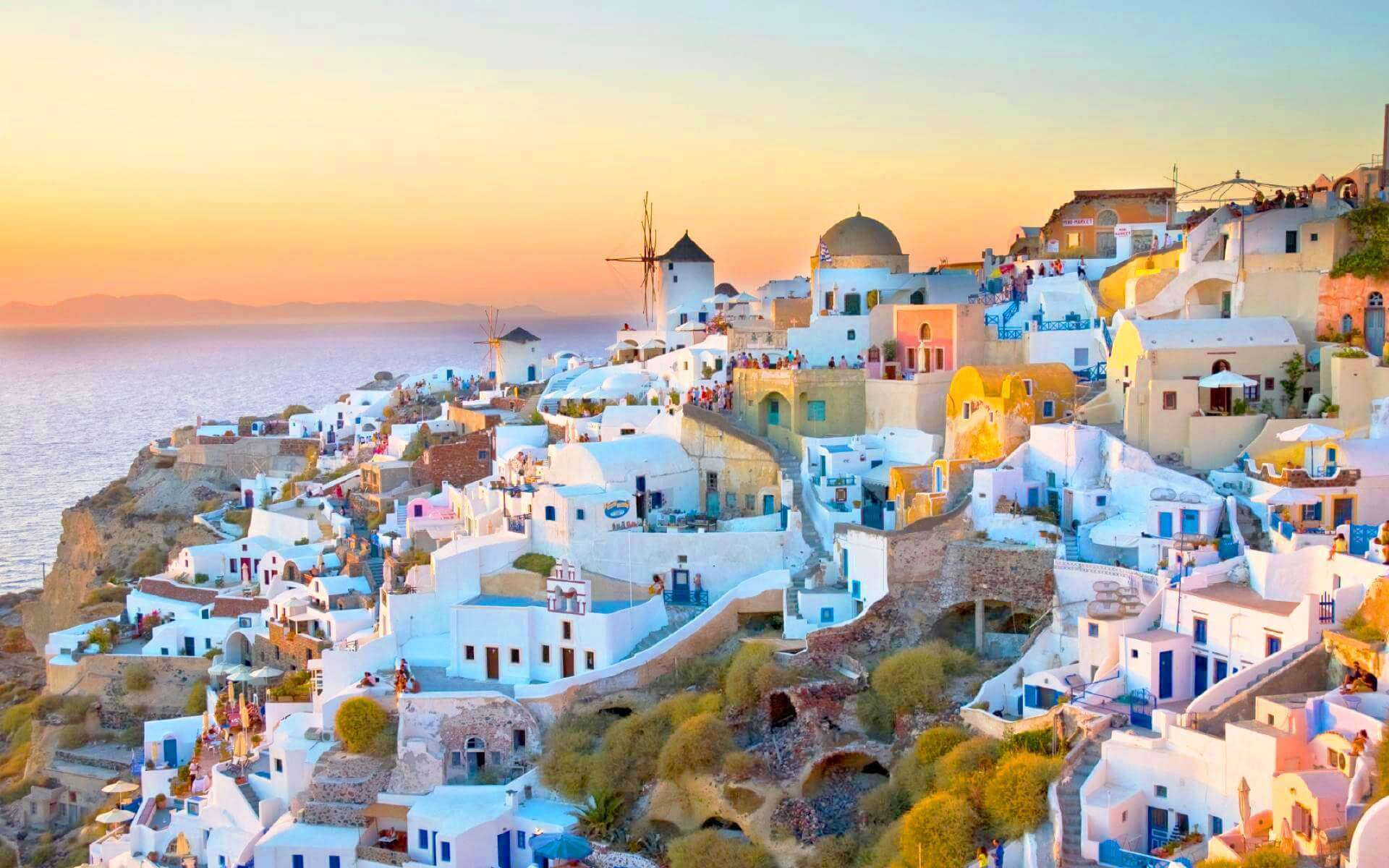 Fira Village during sunset