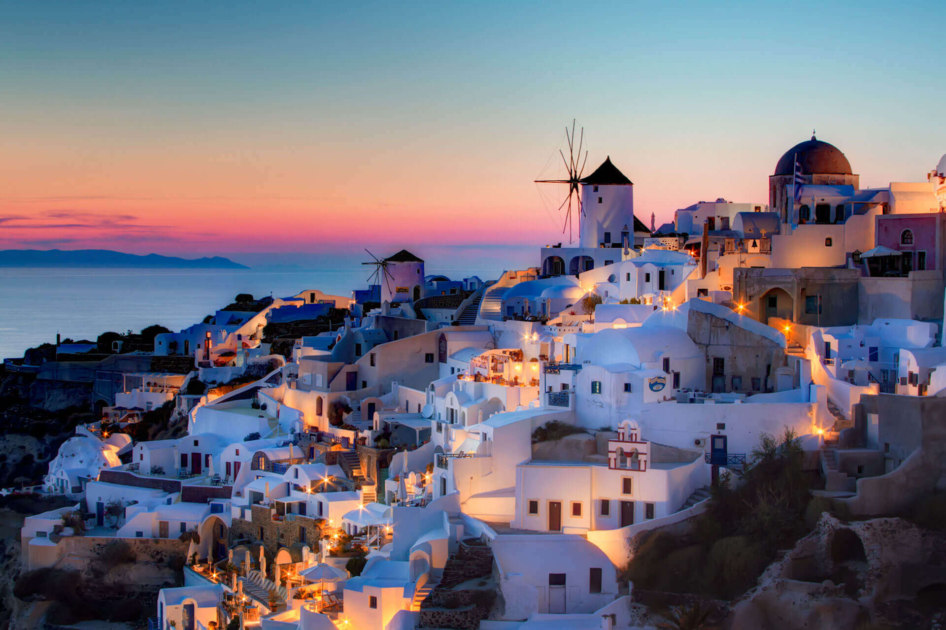 Oia Village during sunset
