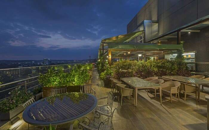Rooftop dining of World of Veg overlooking the Pune city