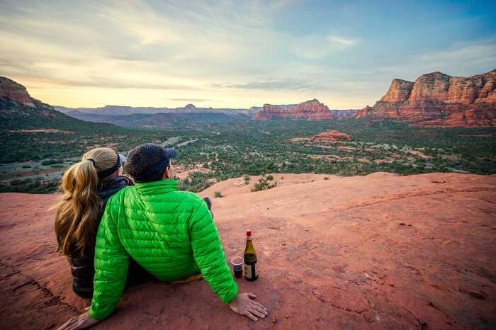 Couple on honeymoon in sedona