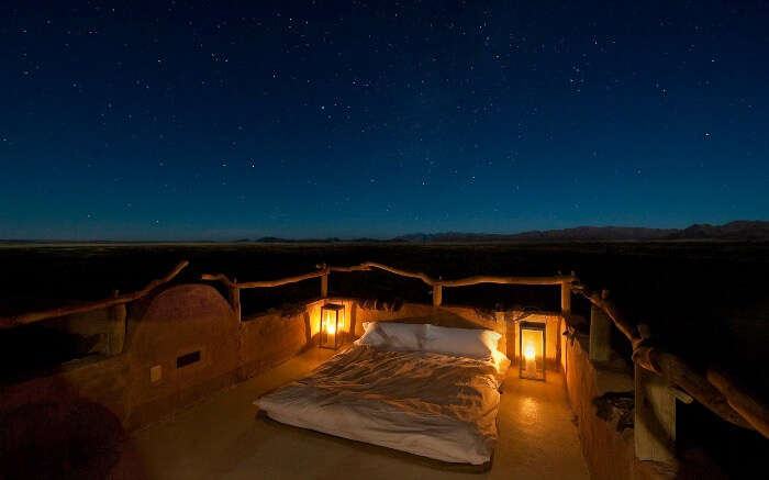 Stargazing setup in a safari honeymoon resort in Africa