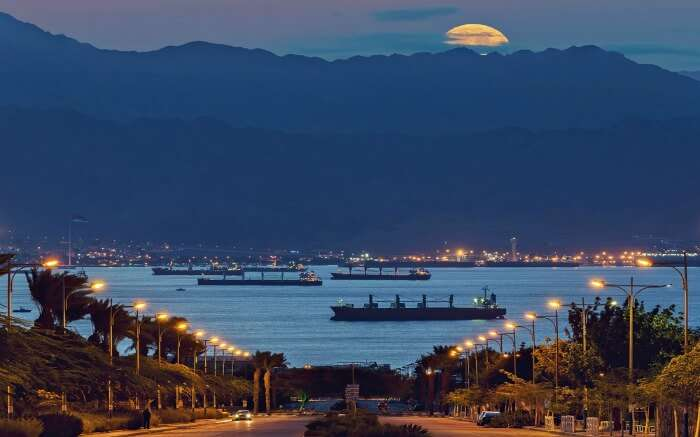 Supermoon phenomenon as seen from the coastal area of Eliat in Israel