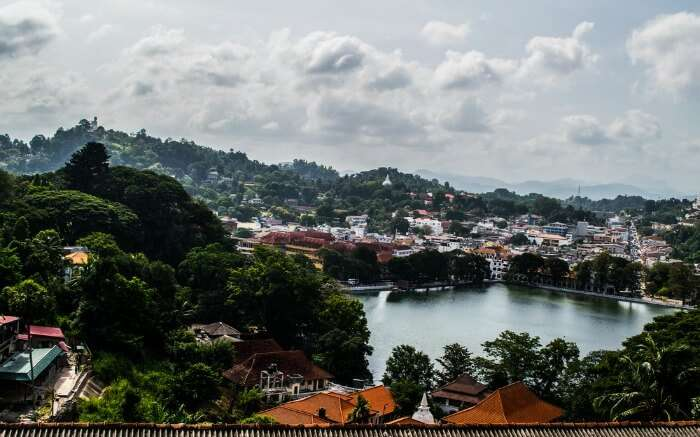 Top view of Kandy lake and adjoining areas in the heart of Kandy