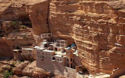 Top view of Saint George Monastery in Judean Desert in Israel